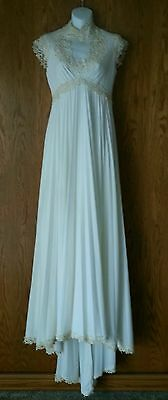 Vtg Wedding Dress Ivory Lace Empire Waist Sleeveless Pleated Skirt Train