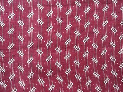 ~Back In Time Textiles~Antique 1880-1910 Claret fabric 1 yd~