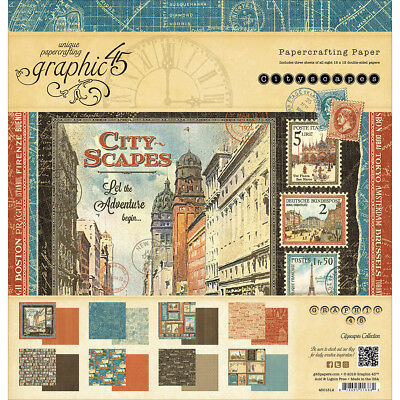 """Graphic 45 Double Sided Paper Pad 12""""X12"""" 24/Pkg Cityscapes, 8 Designs/3 Each G4"""