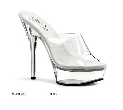 """PLEASER SHOES ALLURE-601 CLR/CLR Fitness Competition/Pole Dancing 51/2"""" Heels"""