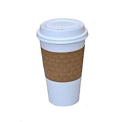 100 Paper Coffee Cup/Disposable Hot Cup PURE WHITE with 100 Lids and 100 New