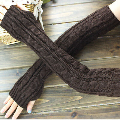 Fashion Women Men's Gloves Arm Warmer Long Fingerless knit Mitten Winter Unisex