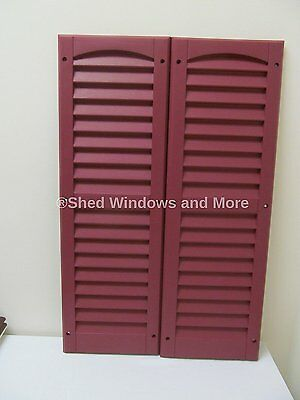 "Louvered Shed Shutter or Playhouse Shutter Maroon 9"" X 27"" Sold By the Pair"
