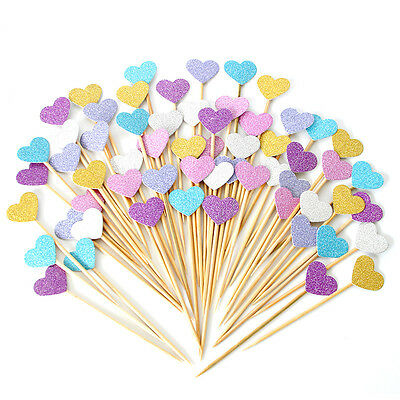 10pcs Birthday Cupcake Toppers Love Heart Party Decor Baby Shower Wedding Cake C