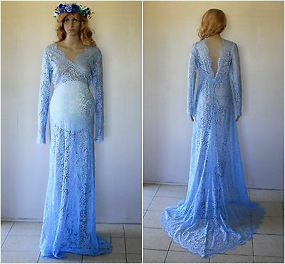 Blue Lace Backless Maternity Dress Gown With Train -Photography Photo Prop 10-14