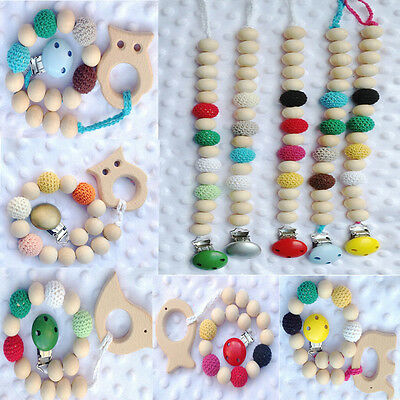 Teething Natural Round Wood Bracelet Baby Newborn Kids Wooden Teether Toys Gifts