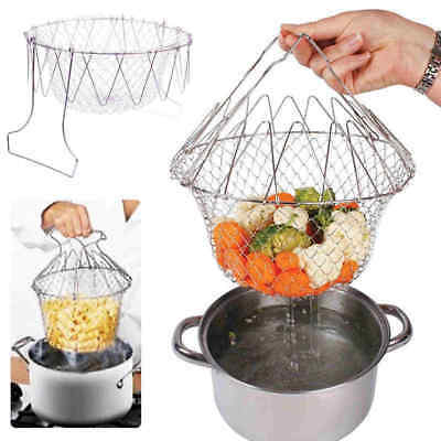 Foldable Steam Rinse Strain Fry Chef Basket Strainer Net Cooking Kitchen Tool L