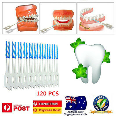 120pcs Interdental Brush Oral Floss Flosser Teeth Cleaning Gum Brushes Toothpick