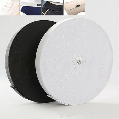 500x1.5cm Polyester Braided Elastic Band Black White Sewing Crafts Fabric Ribbon