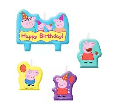 Peppa Pig Candle Set - 4 x Mini Moulded Birthday Candles Set