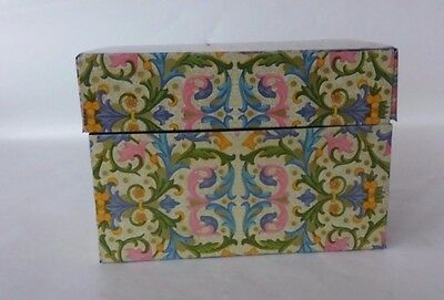 Vintage Metal Recipe Box Yellow Floral Flowers