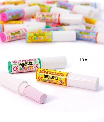 Swizzels Matlow Love Hearts Lipstick Candy x 10 nostalgic sweets from the 70s