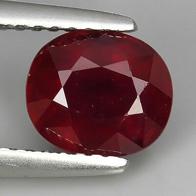 1.96 Ct Excellent Top Quality Blood Red Natural Ruby Oval Cut Loose Gemstones