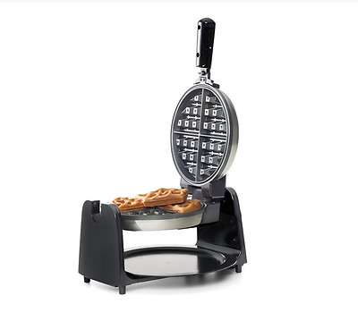 WAFFLE MAKER Rotary Nonstick Press Plate Silver ROUND Belgian ELECTRIC Iron