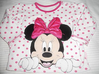 Baby girls 9-12mths Minnie Mouse top  Size 0    long sleeve tee