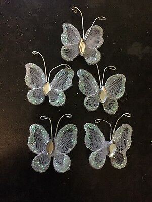 5pc Wire Craft Embellishments White Glitter Butterfly's