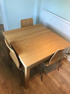 Ikea extendable dining table with 3 chairs for Dining table set ikea usa