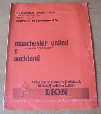 Auckland v Manchester United, 1974/75 - Friendly Match Programme.