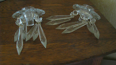 2 Matching Antique Glass Candle Insert Holders Bobeches with Crystals