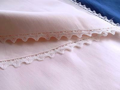 Vintage Soft Pink Linen/Cotton 82x208 Oval Banquet Tablecloth White Bobbin Lace