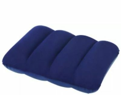 Inflatable Flocked Pillow Camping Travel Soft Blow-Up Blue Size 26Cmx38Cmx8Cm