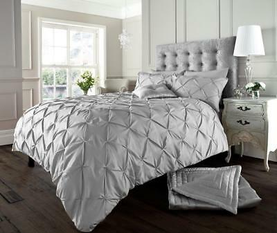 NEW Silver Grey Luxury Modern Pin Tuck Bedding Bed Duvet Set All Sizes