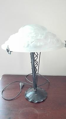 DEGUE lampe de table ou bureau art deco verre moulé signée fer forgé idem Muller