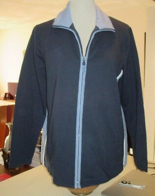 Maternity Zip Up Turtleneck Jog Jacket Sweat Top Blue Stretch NWT Medium