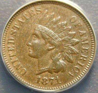 1871 Indian Head Cent - Tough Key Date Coin #10172