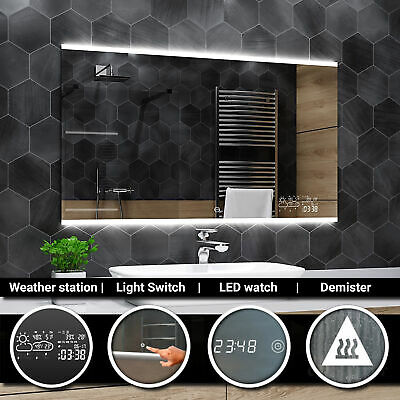 BRASIL Illuminated Led bathroom mirror - Weather Station - Switch - Demister