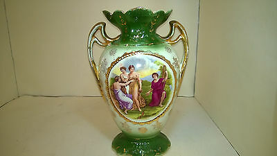 """Two 1880-1910 Molded 2 Handled Continental Vases 12-1/2"""" Tall-Appraisal Attached"""