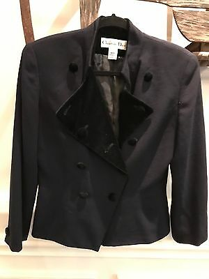 Vintage CHRISTIAN DIOR Military Blue Velvet/Wool Blend Blazer Jacket Women's 8
