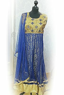 Readymade bollywood style blue indian asian designer anarkali suit dress
