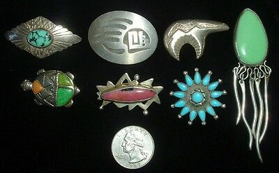 Lot Of 7 Vintage Native American Brooches, Carolyn Pollack , Etc!