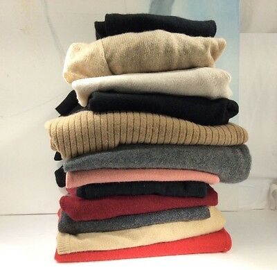 Lot of 13 100% Cashmere Sweaters Craft Cutter Fabric Multi Color Recycle lbs