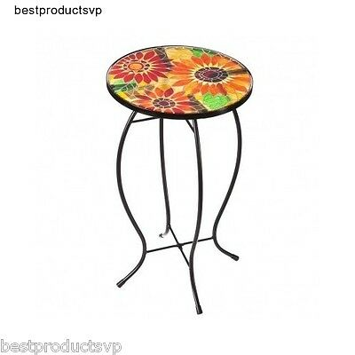Metal Outdoor Side Table End Accent Round Gl Patio Small