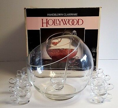 Riekes Crisa HOLLYWOOD Punch Bowl 13 Qts 14 pc Handblown Glass Cups Ladle IN BOX