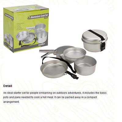 5Pc Portable CAMPING COOK SET Lightweight Hiking Outdoor Cooking Kit BUSHCRAFT
