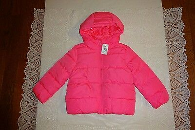 NWT! Girls The Childrens Place Neon Berry Pink Hooded Puffer Jacket Coat Size 4T