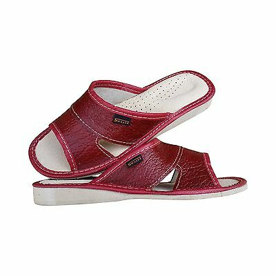 Womens Soft Natural Leather Slip On Slippers Size 3 4 5 6 7 8  Sandals Flats UK