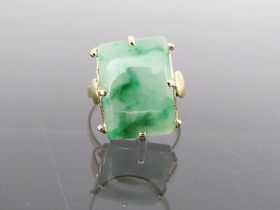Vintage 18K Solid Yellow Gold Natural Green Jadeite Jade Ring Size 8.75