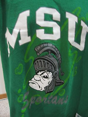 Vintage Michigan State Spartans T Shirt Large Green Discus Athletic 90s EUC