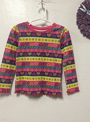Girls shirt GARANIMALS size 4T pink yellow red colorful stripes hearts 69