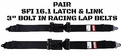 Pair Latch & Link Sfi 16.1 2 Points Lap Belts Signature Series Bolt In All Black