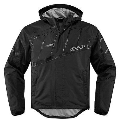 ICON PDX 2 Waterproof Nylon Motorcycle Rain Jacket (Black) M (Medium)