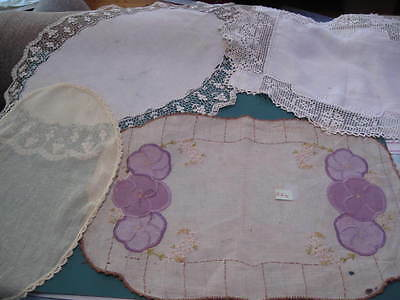 Vintage linen and crochet doilies, hand worked for craft, quilting, dyeing #274