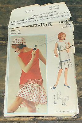 Vintage Butterick Printed Sewing Pattern Misses Beachdress & hat size 16