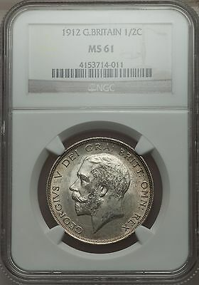 UK 1912 George V  Half Crown NGC MS61 rare silver coin