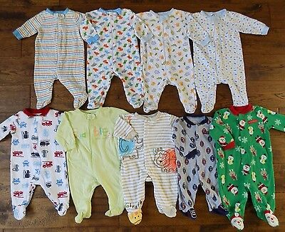 Baby Footed Pajamas Sleepers Newborn 0-3 Months Lot 9