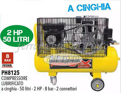 Compressore 50 Lt Cinghia Olio Italy 8 Bar 2 Hp 2 Manometri 2 Connettori 170L/m